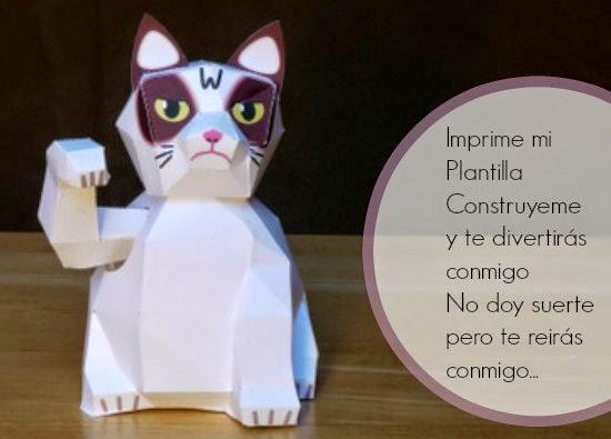 Construye un gato con mal genio de papel que se mueve