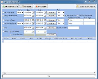 Exportación contabilidad del programa de talleres