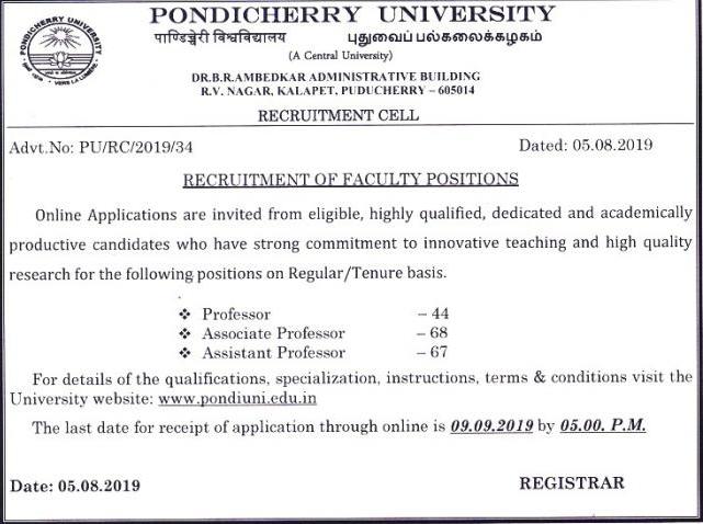 Pondicherry University Recruitment 2019: Apply Online 179