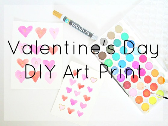 Valentine's Day DIY Art Prints | Watercolor and gold DIY art prints for you to make for Valentine's Day