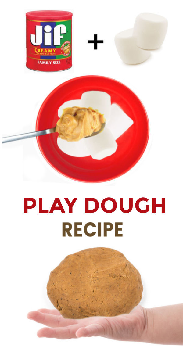 Make play dough for kids using peanut butter and marshmallows! This recipe is SO easy, and the dough is taste-safe, making it great for kids of all ages! #playdough #playdoughrecipe #edibleplaydough #peanutbutterplaydough #peanutbutterplaydoughrecipe #marshmallowplaydough #tastesafeplaydough