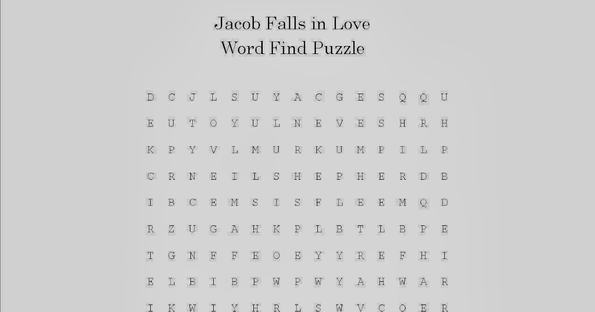 Jacob Falls In Love Word Search Puzzle Free Sunday