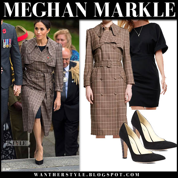 Meghan Markle in brown plaid trench coat karen walker, black asos dress and black pumps sarah flint royal tour new zealand style october 28