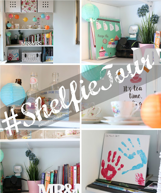 #shelfietour a collage showcasing photos of a diy shelving unit - white with teacups flowers and fairy lights.