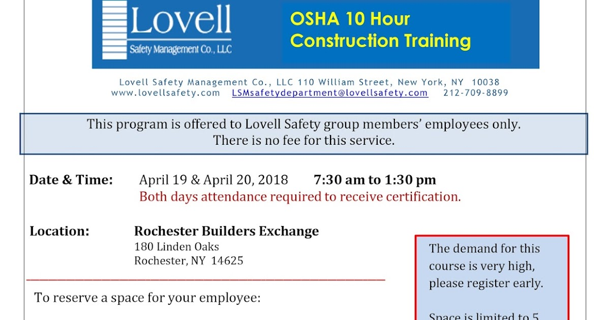Safety Pays Osha 10 Hr Construction Course Rochester