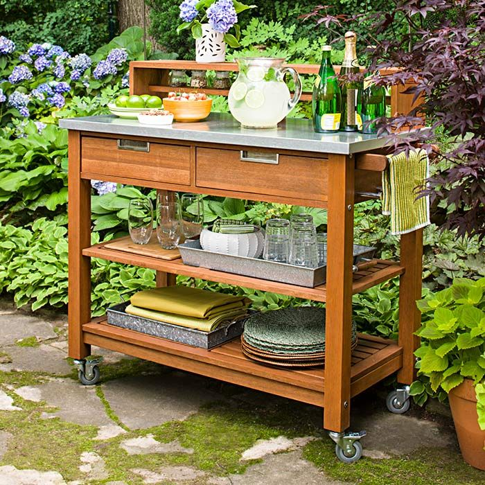 Potting Bench Turned Serving Station Ideas For Outside