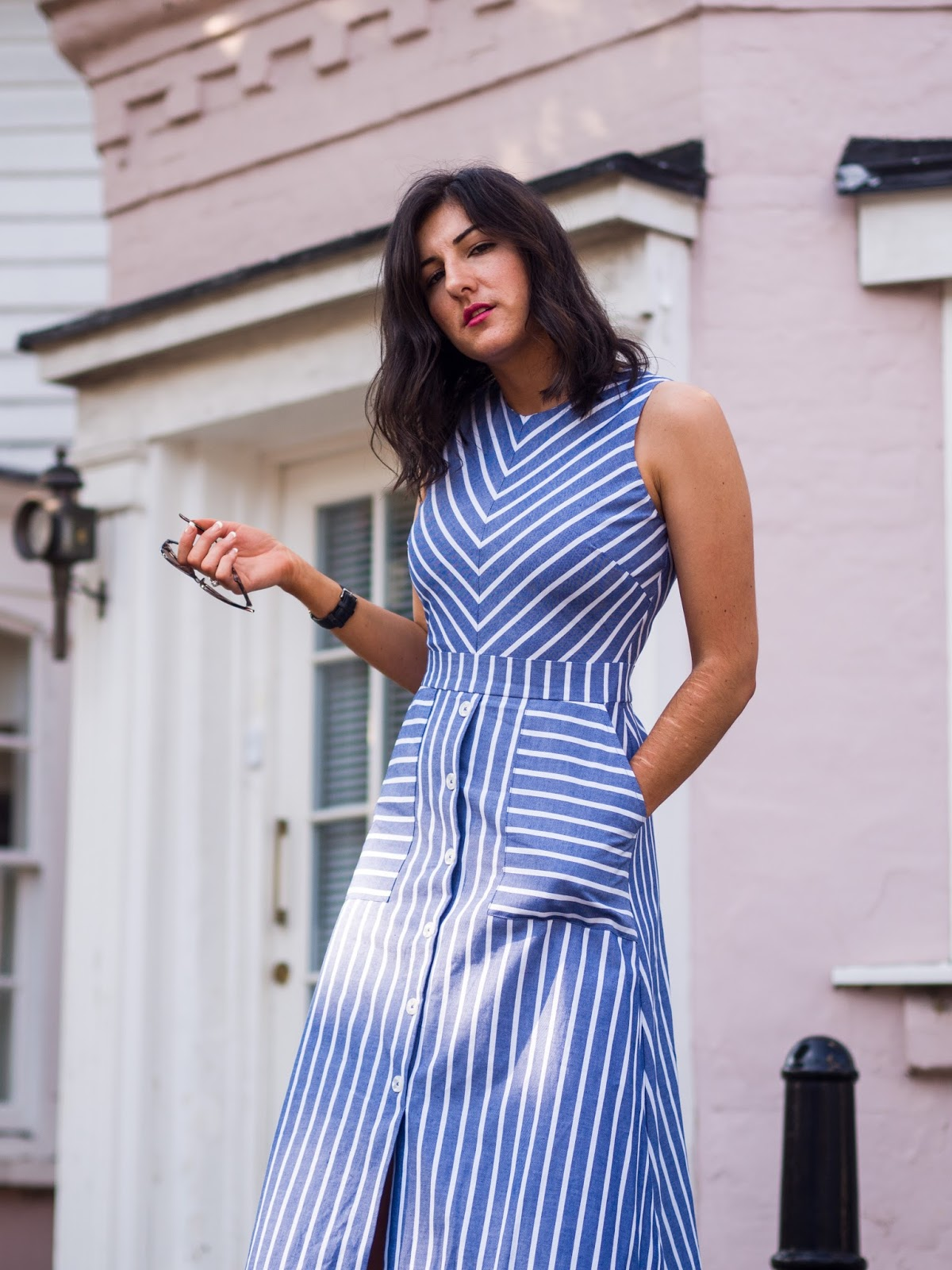 Warehouse Chevron Stripe Midi Dress Take Heart