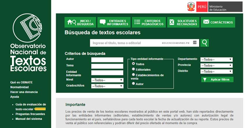 OBNATE: Consulta Precios de Libros Escolares 2018 en Internet en el Observatorio Nacional de Textos Escolares - www.obnate.minedu.gob.pe