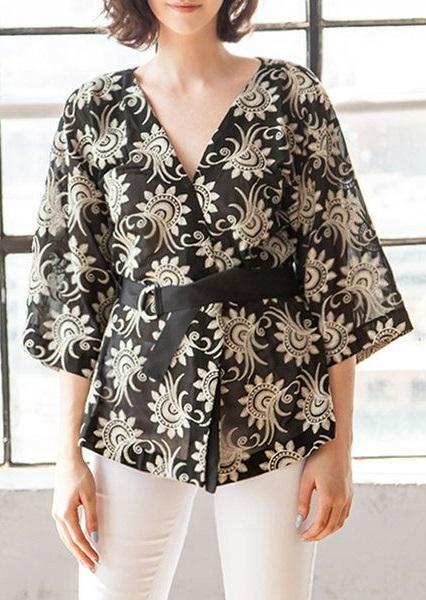 Floral kimonos, black and gold elegant kimono by Nabisplace, StyleWe