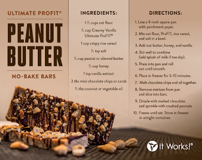 It Works Ultimate ProFit Peanut Butter No Bake Bars Recipe Pic