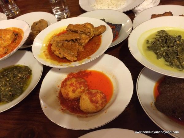 rijsttafel dinner at Natrabu Minang Restaurant in Bali, Indonesia