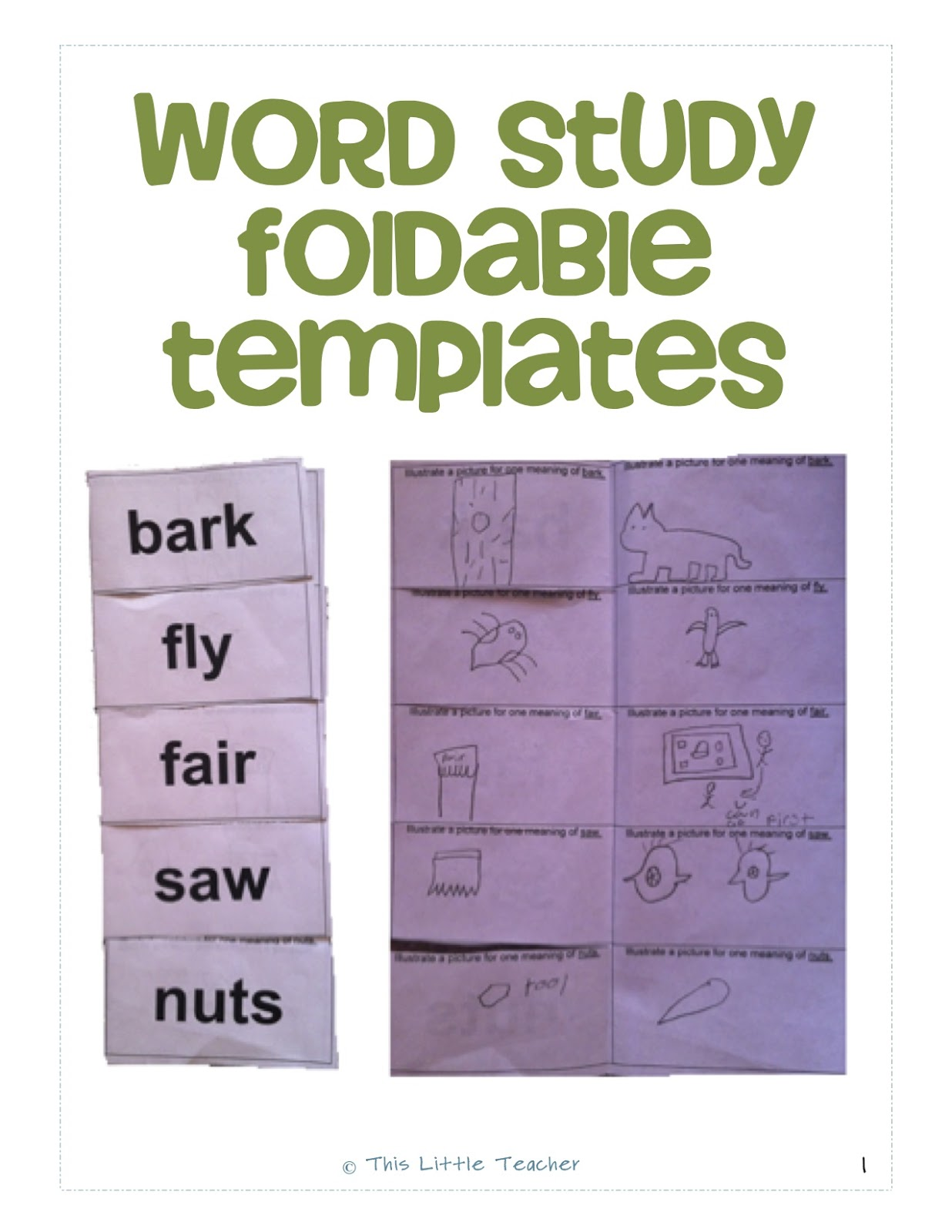 This Little Teacher Word Study Foldable Templates