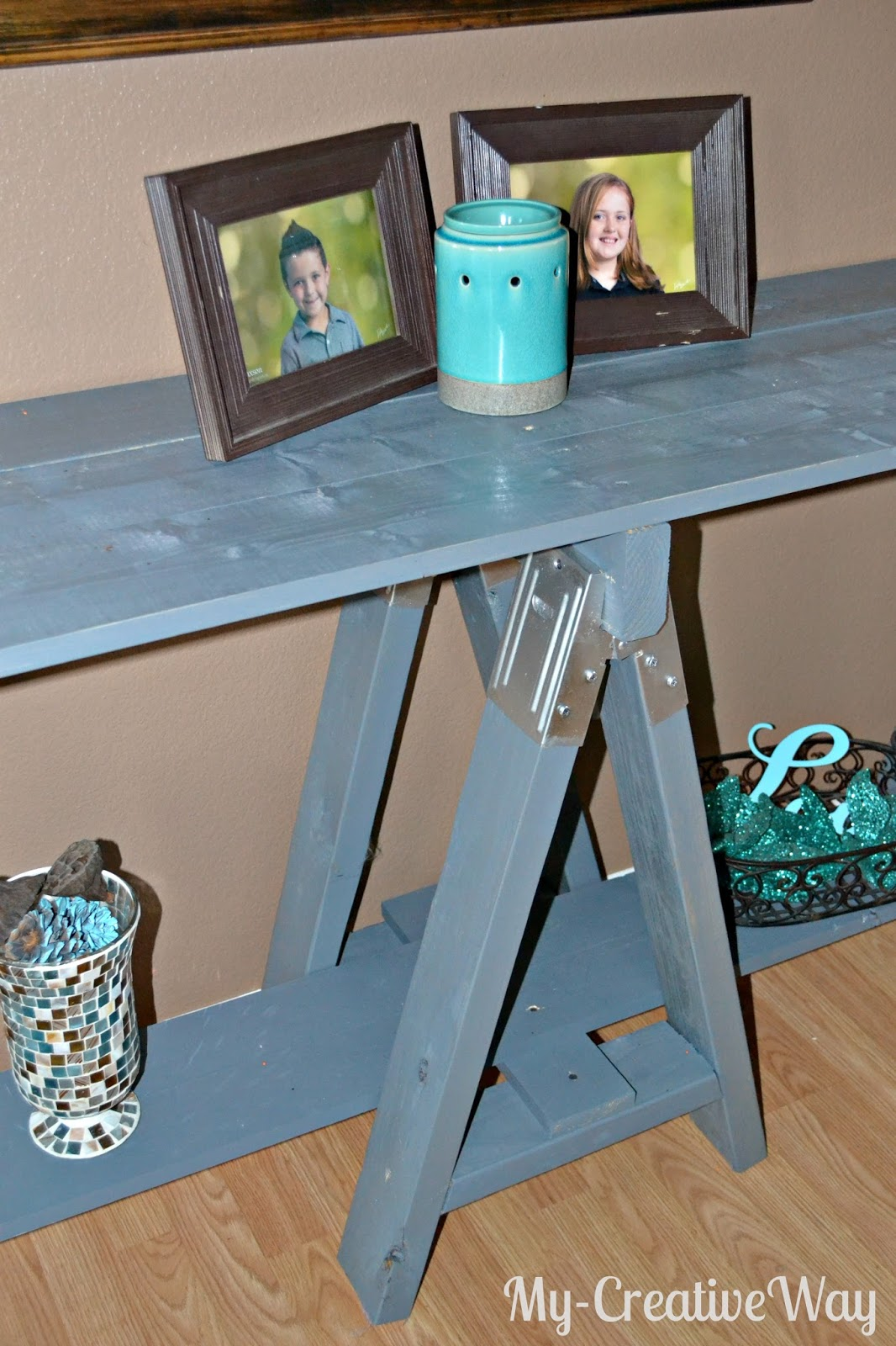My creative way diy sawhorse console table for Table th bottom