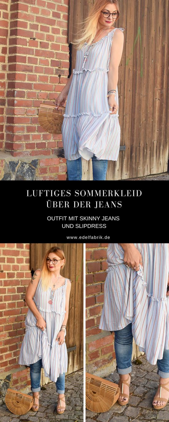Kleid zu Hose tragen, Streetstyle mit Kleid über Hose, Bambustasche