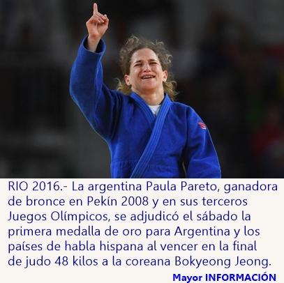 Pareto gana oro y la primera medalla en judo para Argentina e Hispanoamérica en Rio 2016