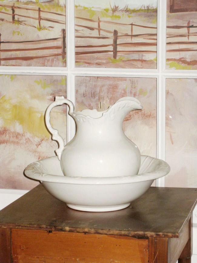 white ironstone pitcher and bowl in hospital setting
