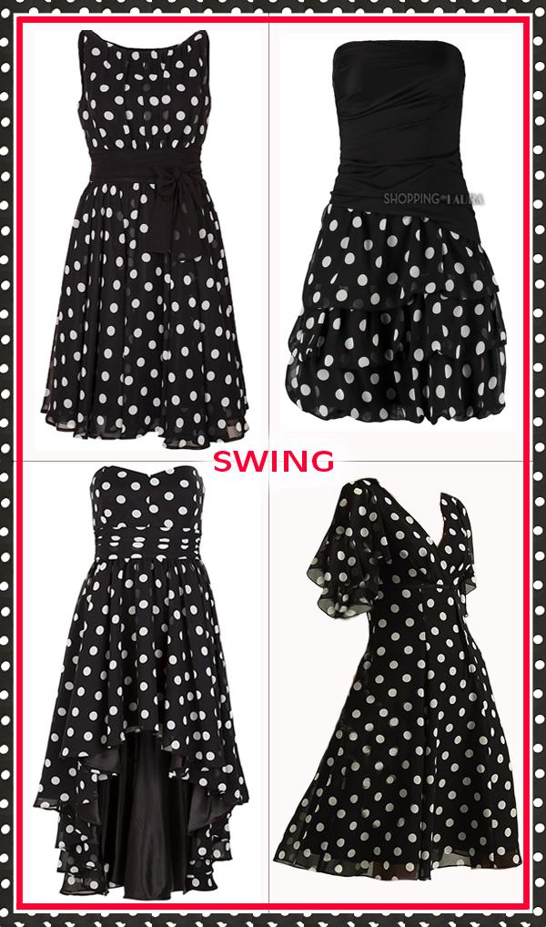 Robe de soirée courte à pois noir et blanc SWING