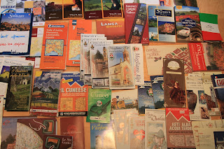 Piemonte (Piedmont) Literature Spread Out on the Dining Room Table