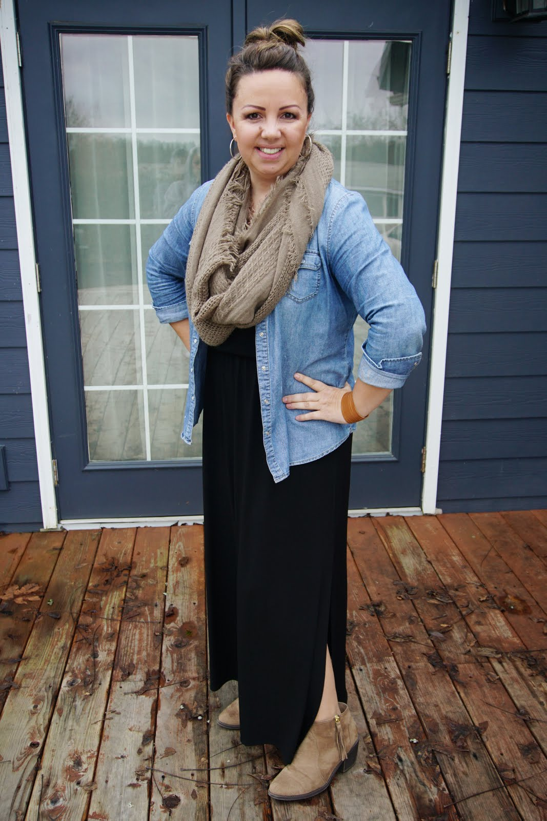 black maxi dress with demin shirt and scarf