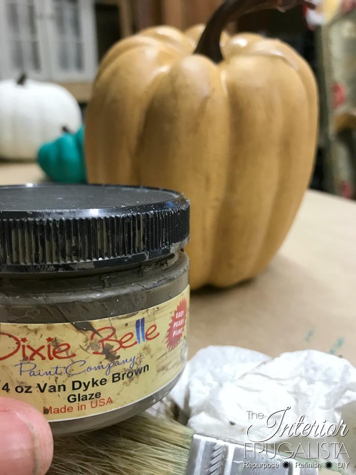 Painted Dollar Store Pumpkins With Dark Glaze