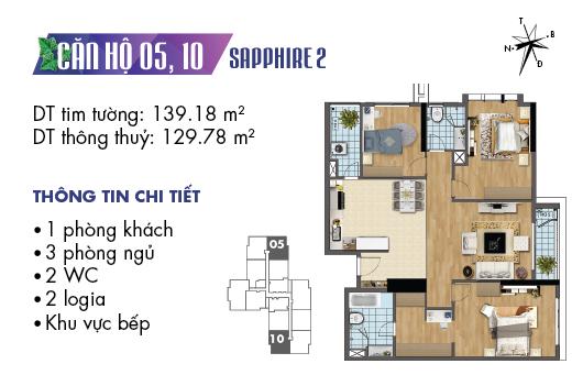 Căn hộ 05 10 tòa Sapphire 2