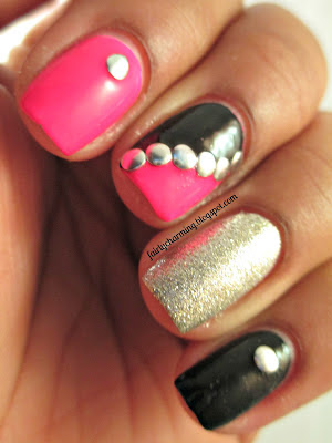 skittlette, hot pink, Love & Beauty Strawberry, studs, silver, glitter, Essie Beyond Cozy, nails, nail art, nail design, mani