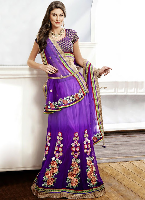 Pleasing Purple Net A Line Lehenga Choli