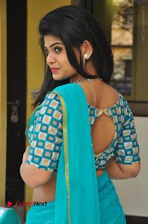Telugu Actress Alekhya Stills in Green Saree at Swachh Hyderabad Cricket Press Meet  0023.JPG