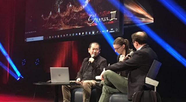 Yu Suzuki on stage at MAGIC 2018