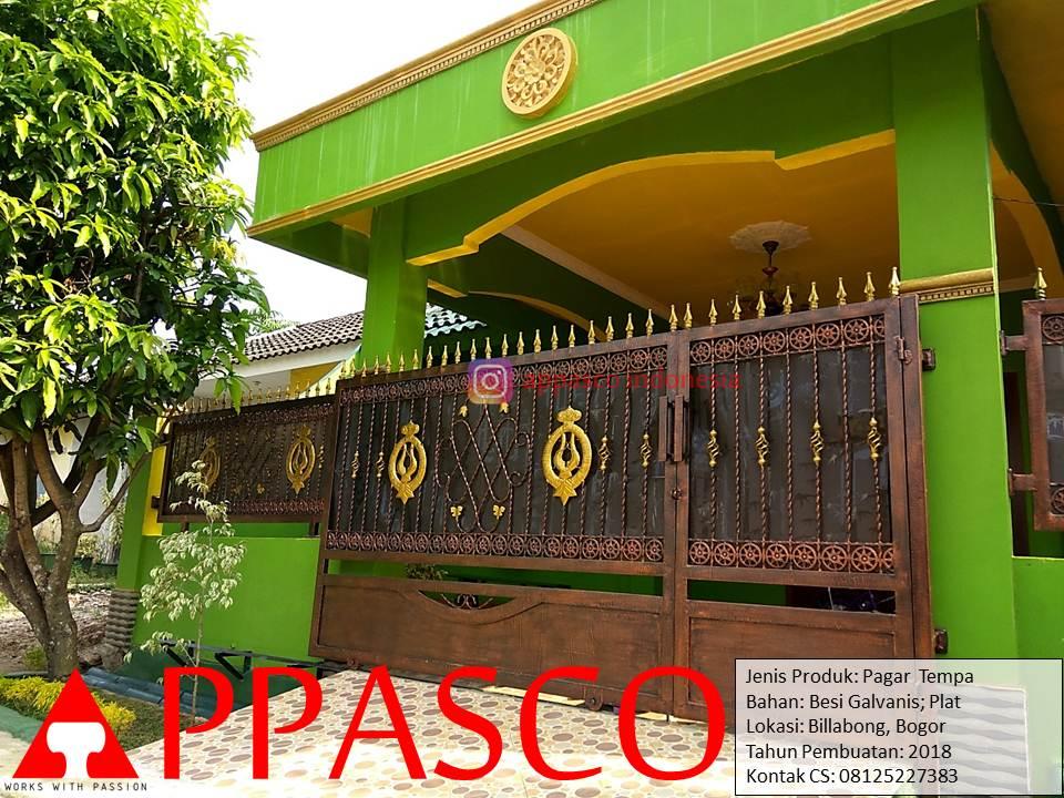 Pagar Klasik Tempa Besi Galvanis dan Plat di Billabong Bogor