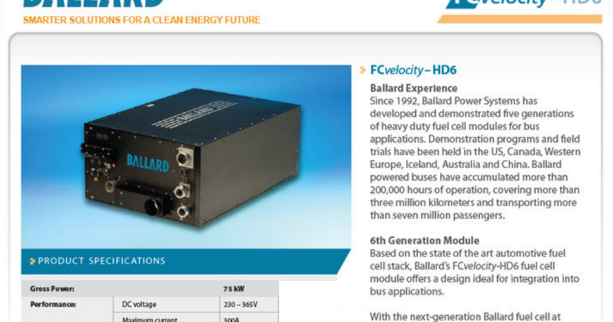 irGRiD: Ballard FCvelocity-HD6 75kW Hydrogen Fuel Cell