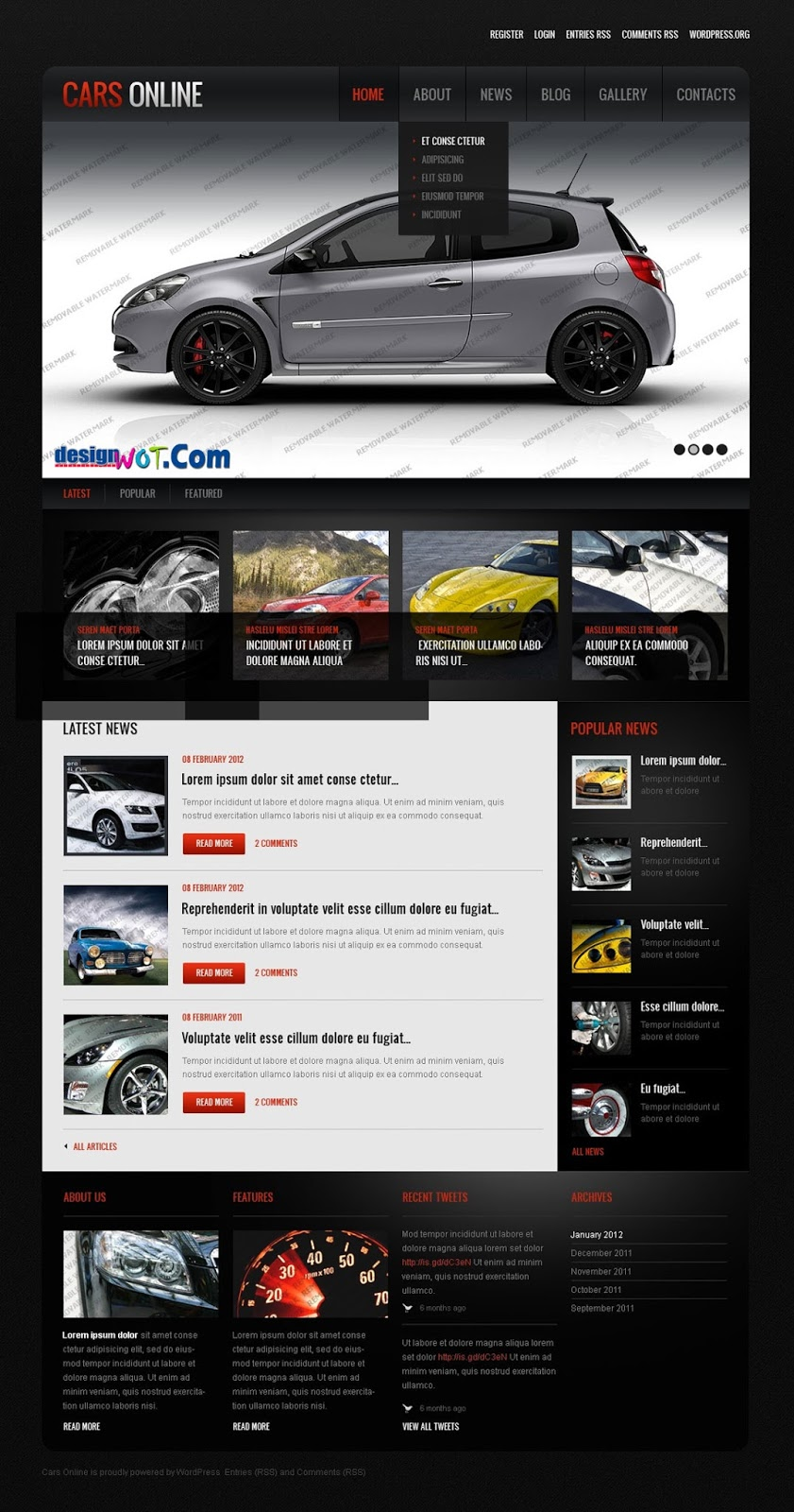 FREE Car Premium Responsive WordPress Theme