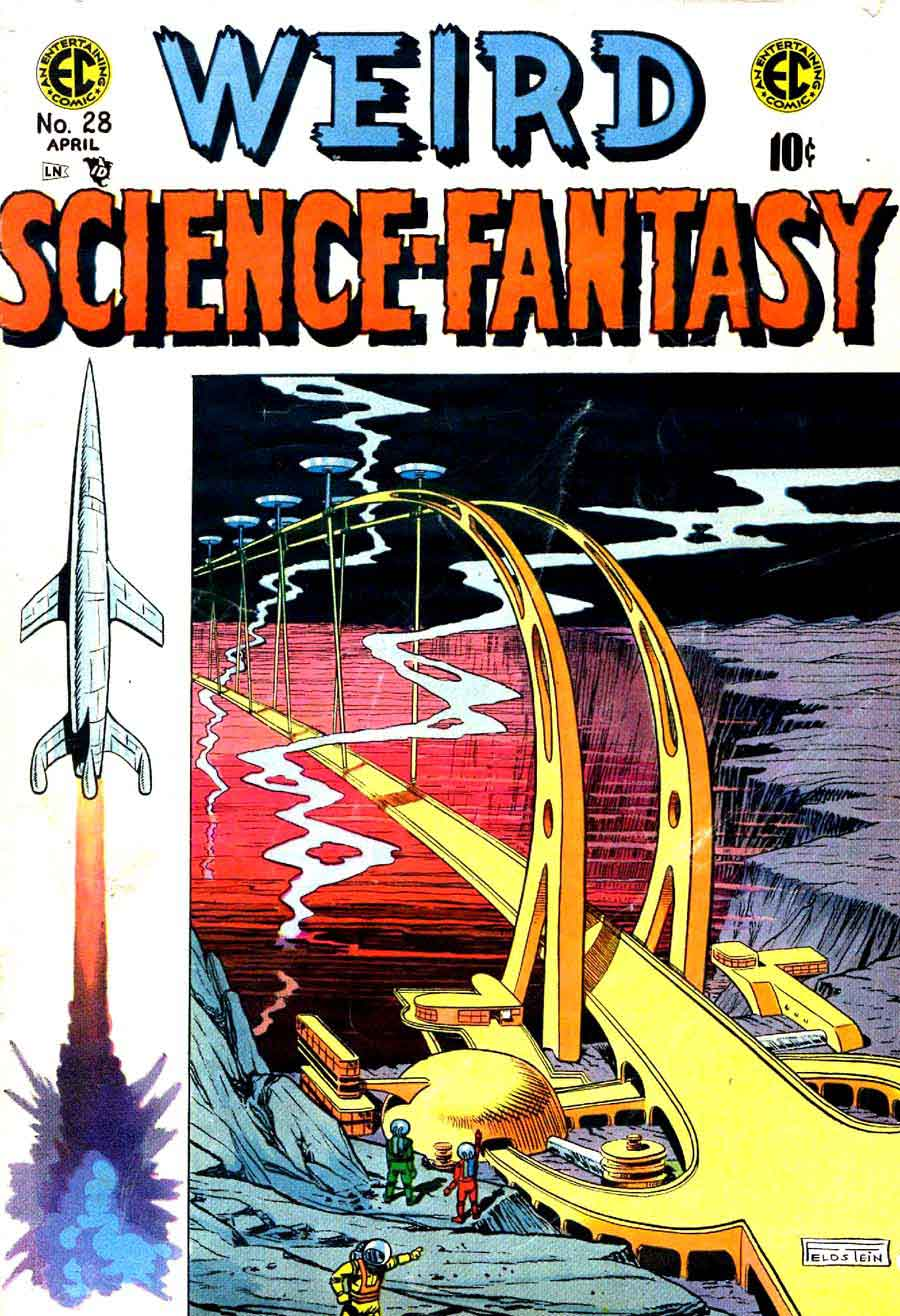 Weird Science-Fantasy v1 #28 ec comic book cover art by Al Feldstein