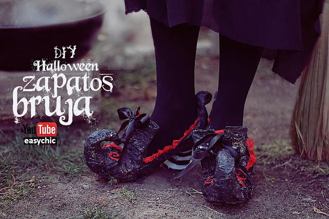 disfraz casero de bruja zapatos