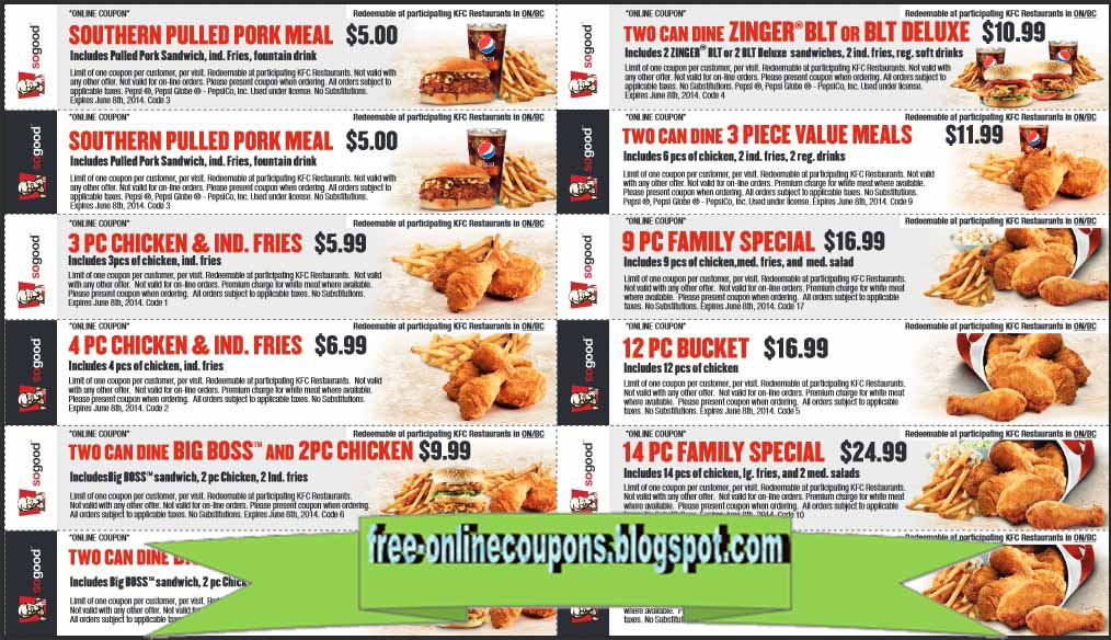 photo regarding Kfc Coupon Printable identified as Printable Coupon codes 2019: Kfc Discount coupons