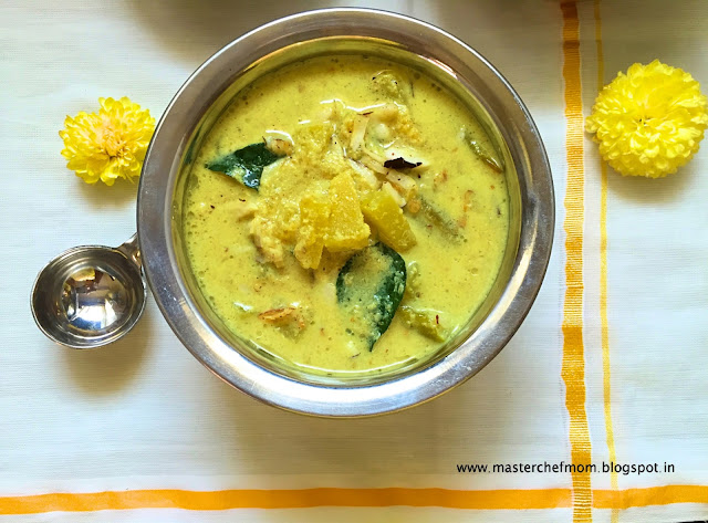 Mathanga Erissery | Kerala Style Yellow Pumpkin Coconut Curry