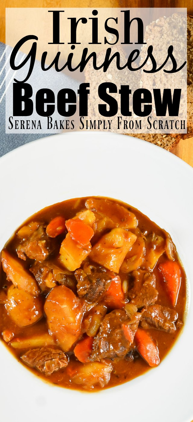 Irish Guinness Beef Stew is an easy to make stew that is slow cooked in a heart gravy with yukon gold potatoes, carrots, and parsnips.