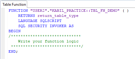 SAP HANA: Table Functions | HANA