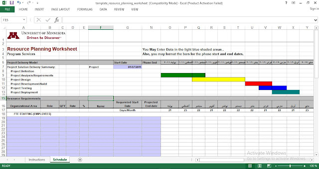 Resource Planning Template for Excel