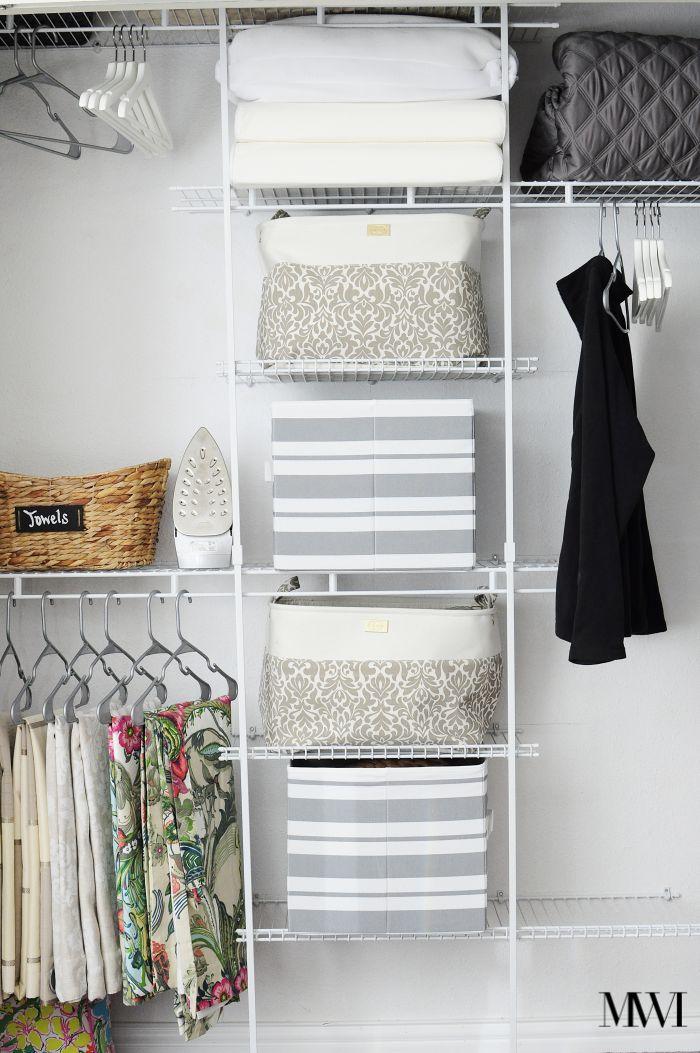BHG striped gray grey storage bins closet