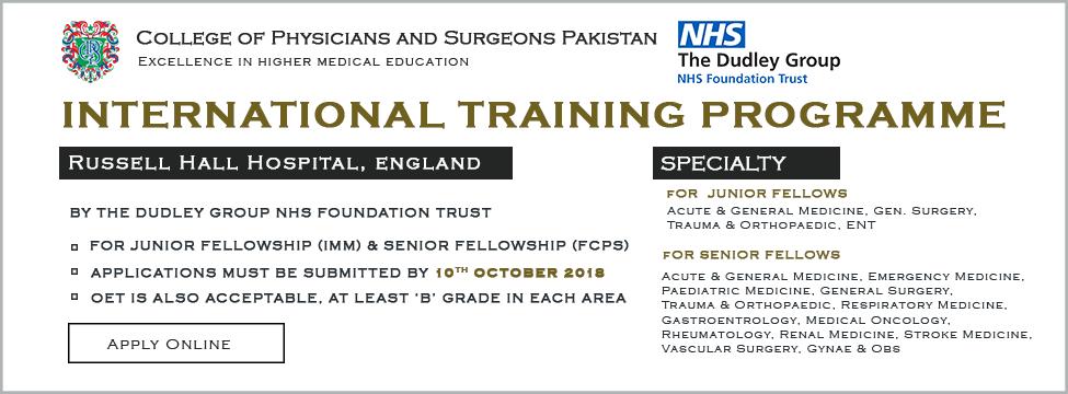 Medical Training Initiative (UK) and CPSP Scholarship