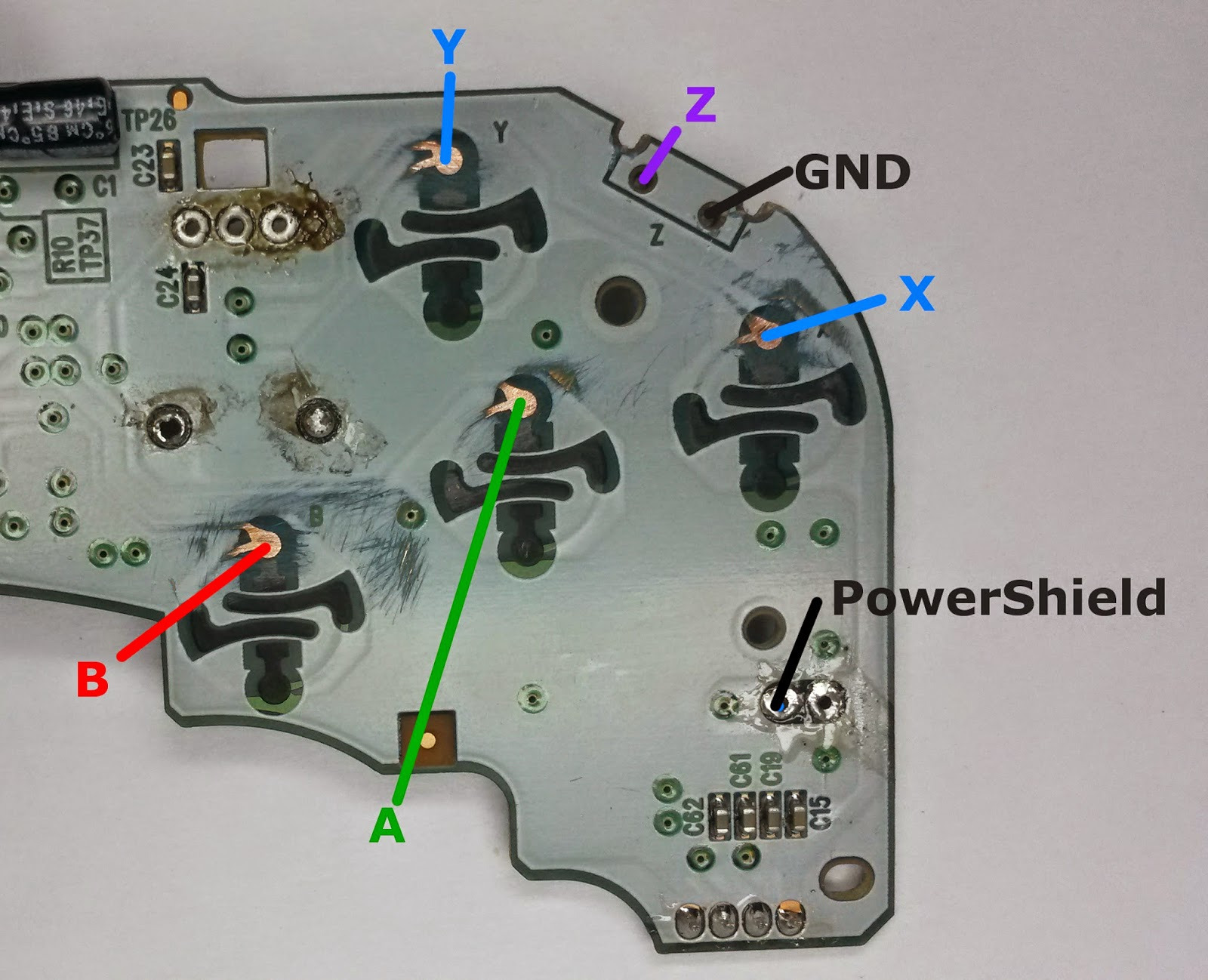 projects a better gamecube controller? (part 2 electrical execution)figure 6 gamecube controller with button pads sanded to copper and z and shield buttons removed