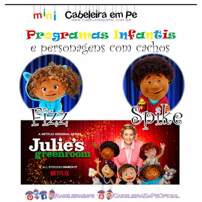Fizz e Spike, personagens cacheados e crespos do programa infantil 'Na sala de Julie' do Netflix
