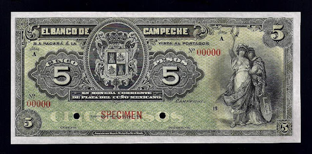 Mexico currency 5 Pesos banknote