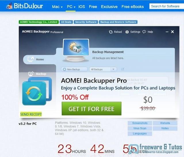 Offre promotionnelle : AOMEI Backupper Pro gratuit (24 heures) !