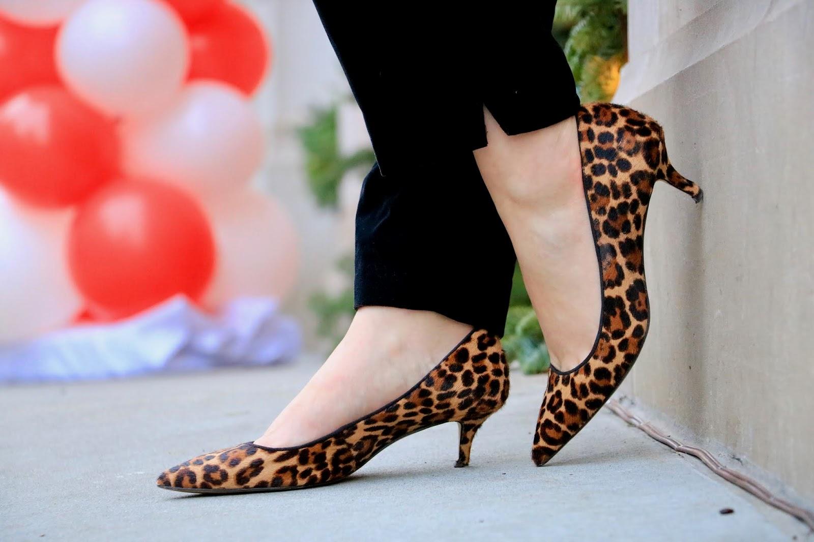 Nyc fashion blogger Kathleen Harper wearing Ann Taylor leopard heels