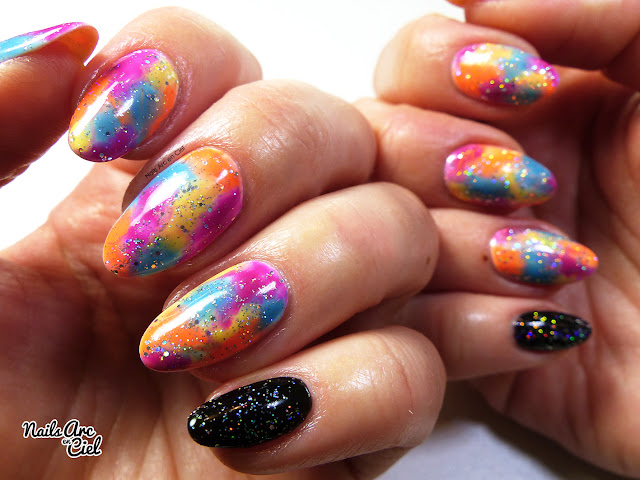 Nail Art - Marbre multicolor acidulé super facile 100% vernis semi-permanent
