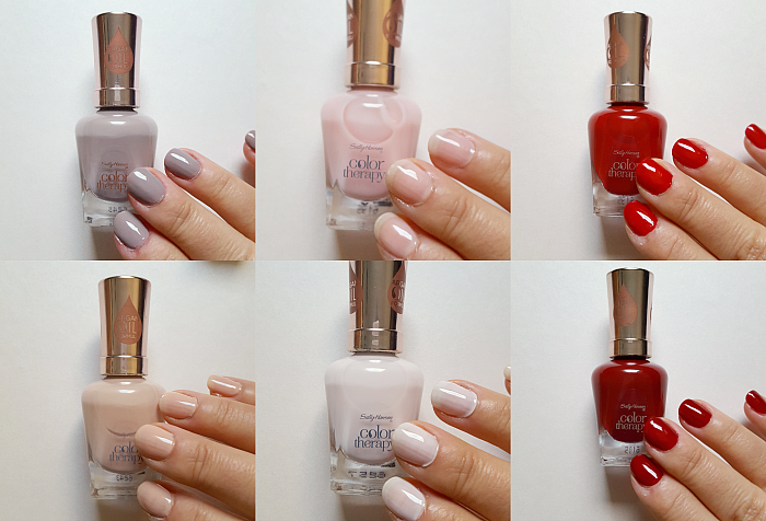 Review & Swatches: Sally Hansen Color Therapy - 150 Steely Serene, 210 Re-Nude, 220 Rosy Quartz, 230 Sheer Nirvana, 360 Red-y to Glow, 370 Unwine´d - Tragebilder