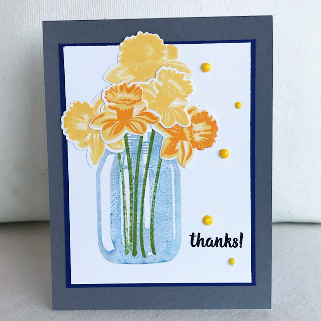 Sunny Studio Stamps: Daffodil Dreams Thank You Customer Card by Donna