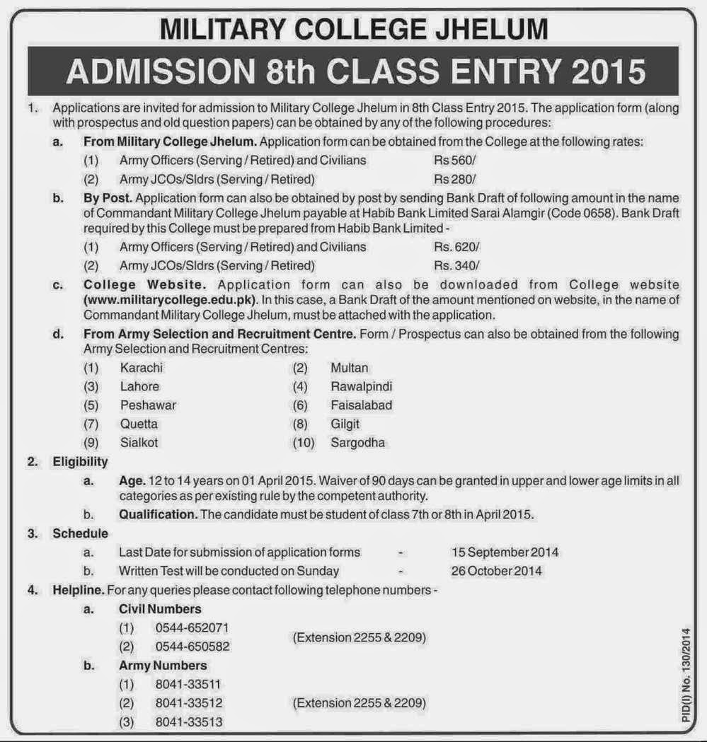 8th Class Entry Admissions 2015 Military College Jhelum